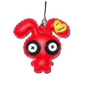 Purse or Cell Phone Leather Charm Japanese Style Big Eye Bunny Figure
