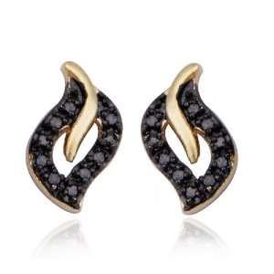 Gold Plated Sterling Silver Black Diamond Teardrop Earrings Jewelry