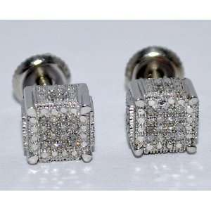 Diamond Earrings Stud Cubes 0.2ct White gold Finish Sterling Silver