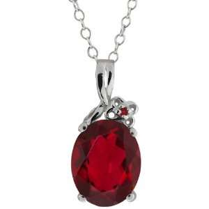 Ruby Red Mystic Quartz and Diamond 10k White Gold Pendant Jewelry