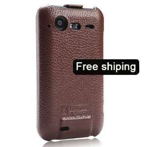 Brown Genuine Leather Flip Case Cover for HTC Desire S