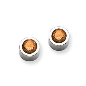 Chisel Stainless Steel Brown CZ Post Earrings Chisel Jewelry