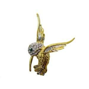 Gold Plated Enamel Hummingbird Pin   CZ Crystal Hummingbird Lapel Pin