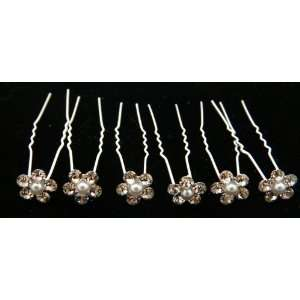 Crystals With Pearl Flower Hair Pins (Pack of 6) 1012