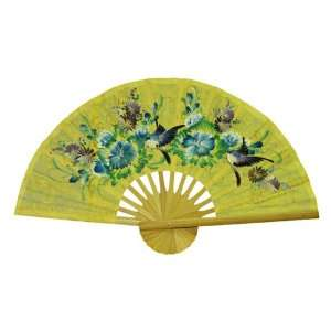 EXP Hand painted Yellow Folding Decorative Wall Fan   Bird
