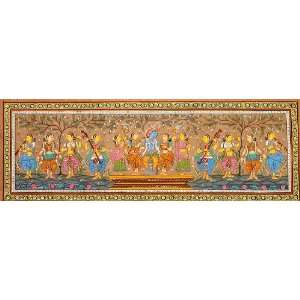 Dancing and Singing with Krishna   Paata Painting on Tussar Silk