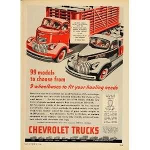 1946 Print Ad Chevrolet Chevy Trucks Stake Pickup Cab   Original Print