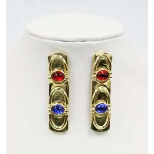 Blue and Red Gemstones on Gold Plated Dangle Earrings