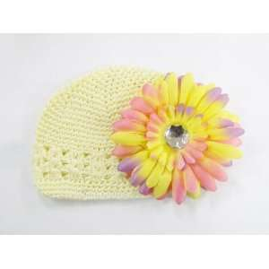 Hat Fits 0   9 Months With a 4 Rainbow Gerbera Daisy Flower Hair Clip