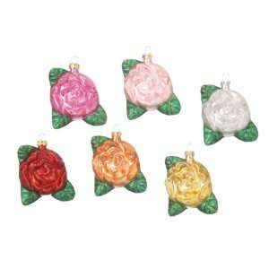 Set of 6 Colorful Glitter Rose Flower Glass Christmas