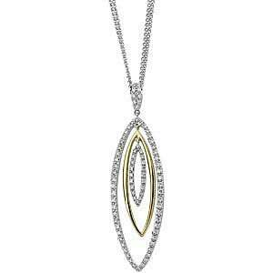 Fashionable Multi Two Tone 14k White and Yellow Gold Pendant with