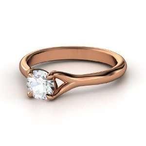 Cynthia Ring, Round White Sapphire 18K Rose Gold Ring Jewelry