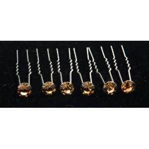 Brown Crystal Hair Pins (Pack of 6) HS 0001 Everything