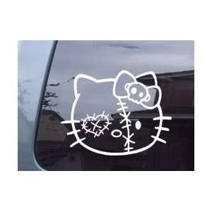 Hello Kitty Zombie Head White Vinyl Decal Sticker