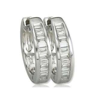 14k White Gold 1/3 Carat Baguette Diamond Huggie Earrings Jewelry