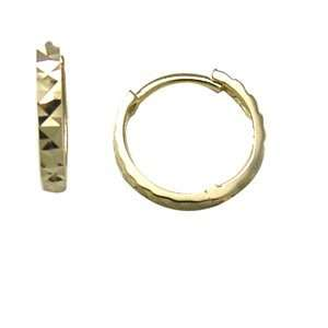Stylized Textured Solid Band 14K Yellow Gold Huggie Earrings Jewelry