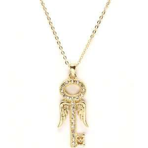 Goldtone Crystal Angel Wing Key Necklace Jewelry
