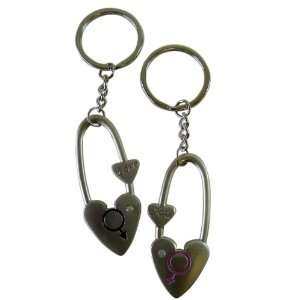 Love Keychains   Diaper Pin Shaped Love Pewter Keychains Toys & Games
