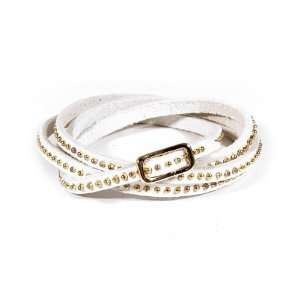 Tiny Studded Leather Wrap Bracelet   Gold/Silver