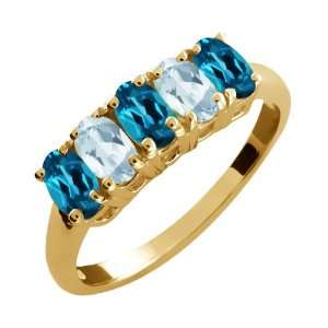 2.51 Ct Oval London Blue Topaz and Aquamarine Gold Plated