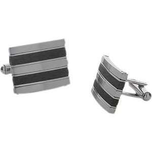 Mens Stainless Steel and Rubber Cufflinks Jewelry