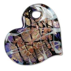 Murano Style Glass Pink Gold & Blue Foil Heart Angled