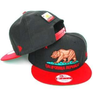 New Era 9FIFTY Snapback California Republic Bear Two Tone Black Red