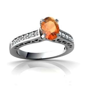 14K White Gold Oval Fire Opal Engagement Ring Size 8.5 Jewelry