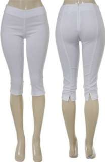 SELE Stretch Slim Fit Capri Pants (White) Clothing