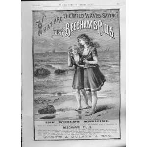 Wild Waves Say Beechams Pills Antique Advertisment 1888