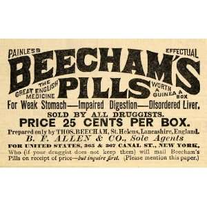 1890 Ad Beechams Pills Indigestion Pricing B. F. Allen