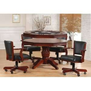 Cherry Tournament Poker Table & 4 Swivel Game Chairs
