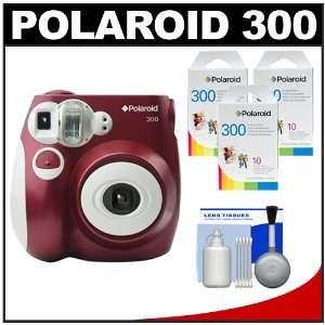 Polaroid PIC 300R Instant Film Analog Camera (Red) with (3) Polaroid