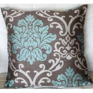 Jacquard Cushion Pillow Cover 17 18   Blue Green and Beige on Light