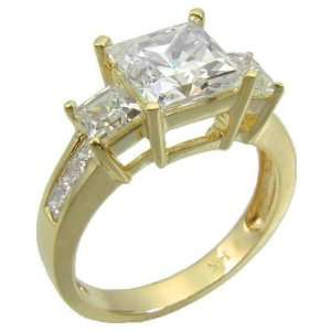 Ziamond Cubic Zirconia Winston Three Stone Princess Cut Ring Jewelry