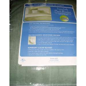 MARTEX(R) SUPER PLUSH HEATED BLANKET TWIN SIZE SAGE Home & Kitchen