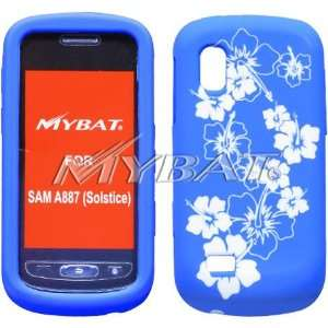 Silicone Design Skin Cover Case White and Blue Hibiscus For Samsung