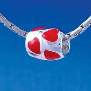 Multi Red Heart Tube   Silver Plated Large Hole Bead