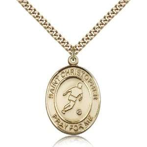 Gold Filled St. Saint Christopher/Soccer Medal Pendant 1/2