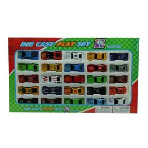 25 Piece Die Cast Metal, Small Car Play Set Speed Zone