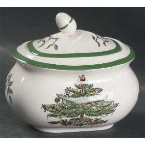 Spode Christmas Tree Green Trim Sugar Bowl & Lid, Fine