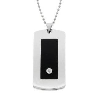 Mens Stainless Steel Dog Tag Cross Pendant with Diamond
