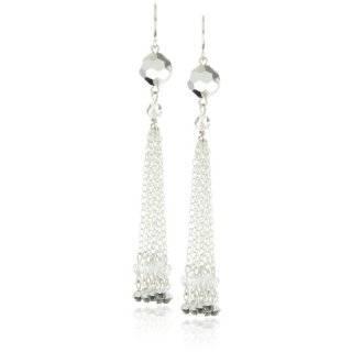 Silver and Swarovski Crystal Column Earrings Jewelry