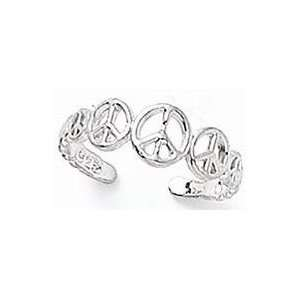 Peace Signs Toe Ring   Sterling Silver Adjustable Jewelry