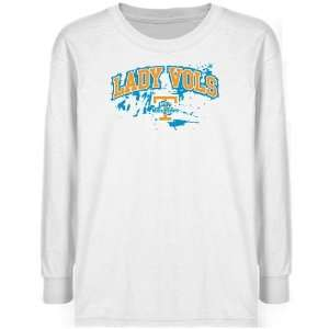 NCAA Tennessee Lady Vols Youth White Splatter Long Sleeve T shirt