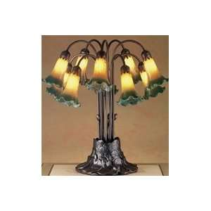 Tiffany   14357   22H Amber/Green Pond Lily 10 Lt Table Lamp: Home