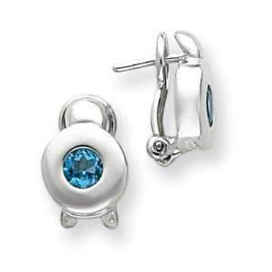 Sterling Silver Blue Topaz Round Earrings West Coast Jewelry Jewelry