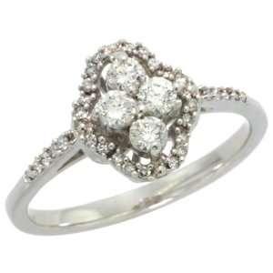 14k White Gold Clover Flower Diamond Ring w/ 0.40 Carat Brilliant Cut