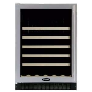Under Counter Wine Cellar Black Cabinet Glass and Stainless Steel Door