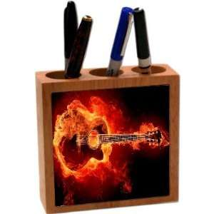 Rikki KnightTM Flaming Guitar 5 Inch Tile Maple Finished Wooden Tile